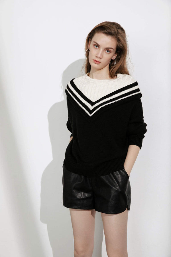 Hortense Varsity Black Mixed Sweater