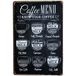 Coffee Menu Wall Decor Metal Sign Vintage