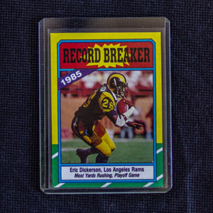 1986 Topps Record Breaker #2 Eric Dickerson 1985 Los Angeles Rams Most Yards Rushing , Playoff Game - Vintage Heaven Shop