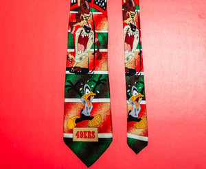 49ers Looney Tunes Silk Tie Toons Football - Vintage Heaven Shop