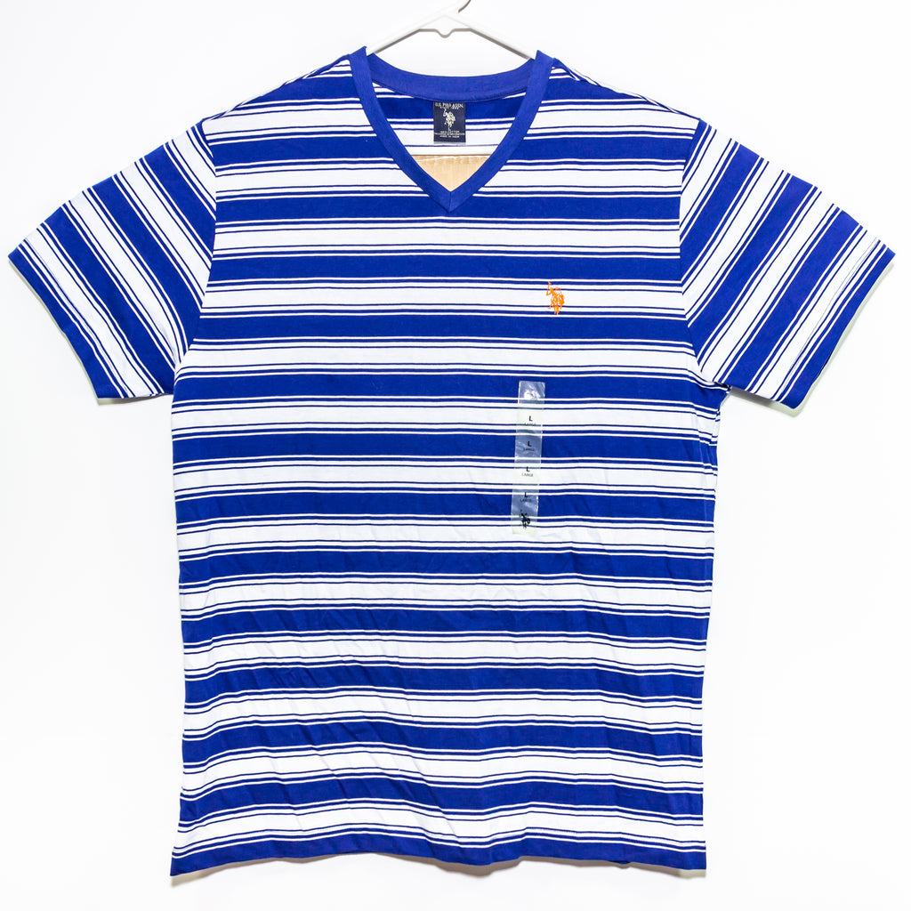Blue Striped U.S. Polo ASSN. Men's V-Neck NWOT Size: Large 100% Cotton Made in India New Without Tags - Vintage Heaven Shop