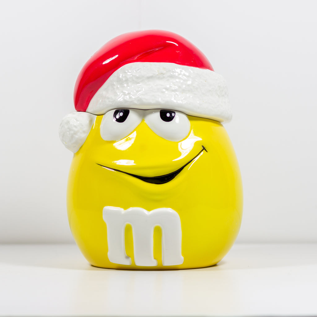 Santa Yellow M&M Galerie Ceramic Candy Cookie Jar Almost Vintage 2003 Very Good Condition - Vintage Heaven Shop