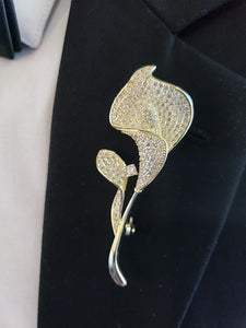 Gold lapel pin & gold broche