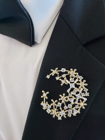 Gold lapel pin and gold broche