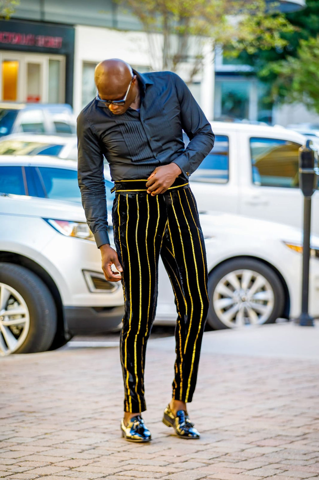 Tailored Velvet Black/Gold Trousers