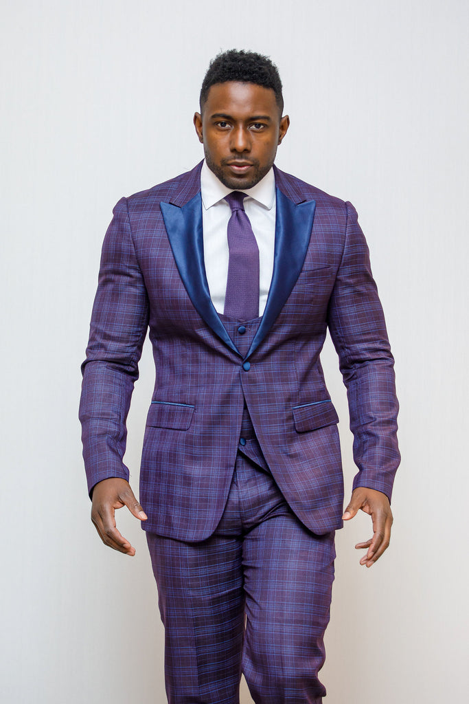Purple Glen Check  - Suit/Tux 3 Piece Suit - Eaden Myles