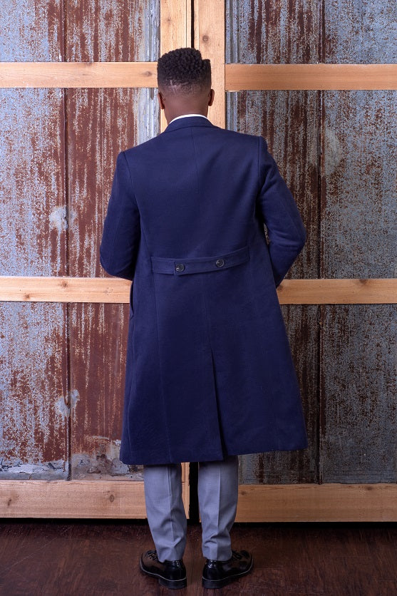 Double Breast Overcoat - Navy Blue - Eaden Myles
