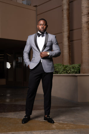 Grey & Black – 2 Piece Shawl Collar Tuxedo