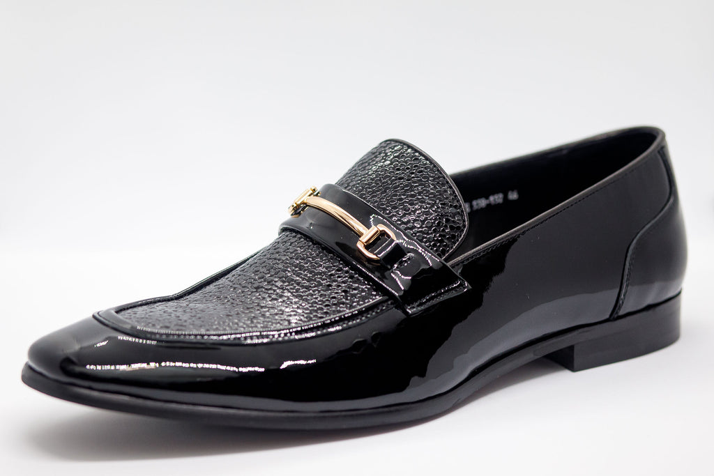Patent Leather Bit Loafer - W/ Gold Buckle  - Black - Eaden Myles