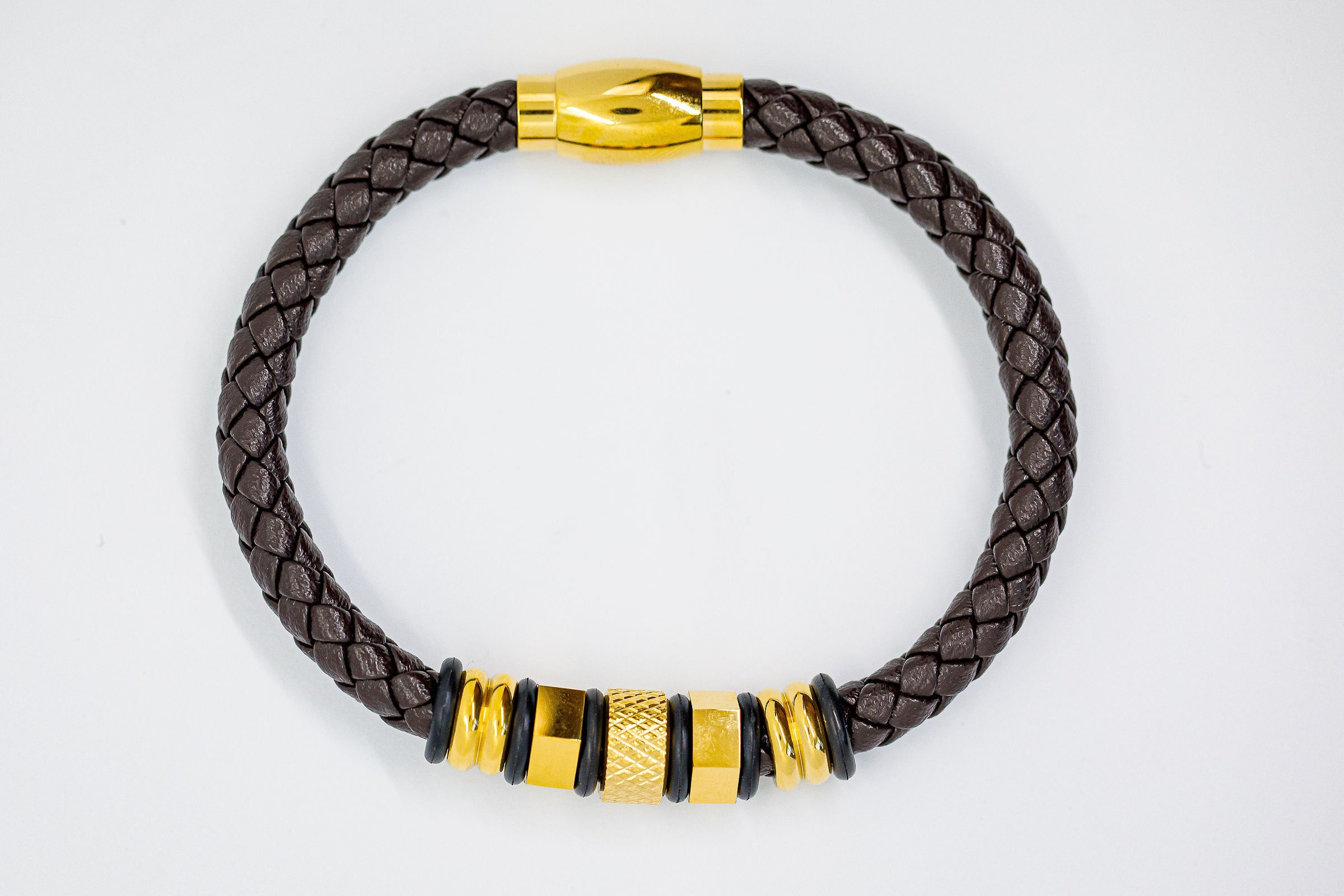 Brown Braided Leather Bracelet - Eaden Myles