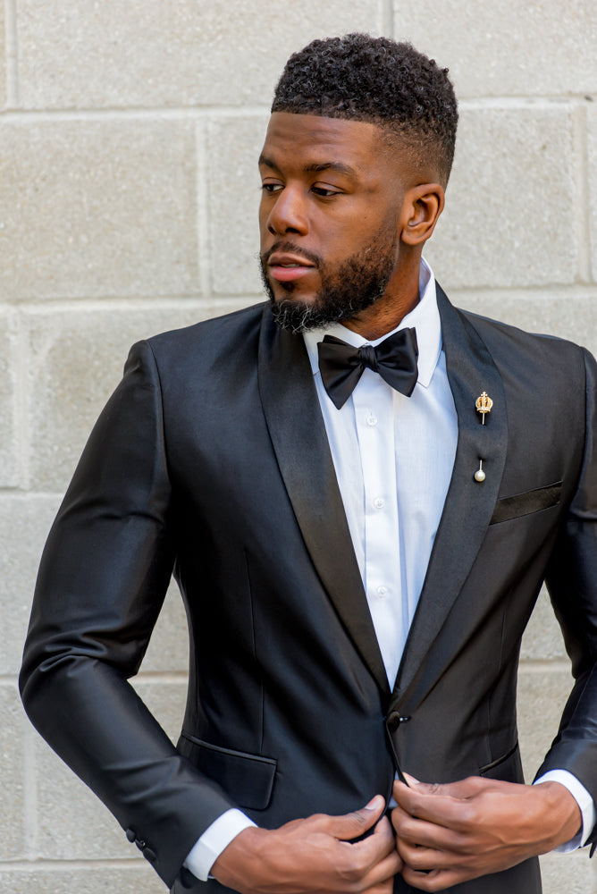 Jet Black Shine – 2 Piece Shawl Collar Tuxedo - Eaden Myles