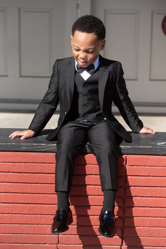 Boys 3 Piece Black Suit - Eaden Myles