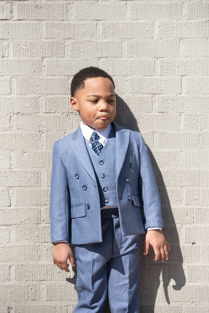 Boys 3 Piece Sky Blue - Double Breasted Suit - Eaden Myles