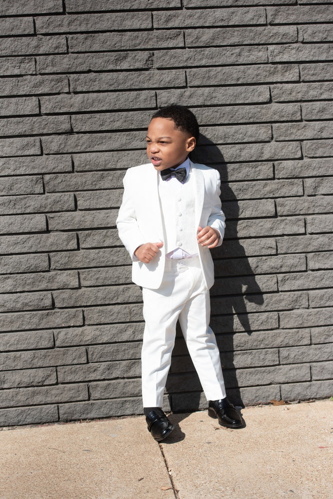 Kids 3 Piece White Tuxedo w/ Shawl Lapel - Eaden Myles