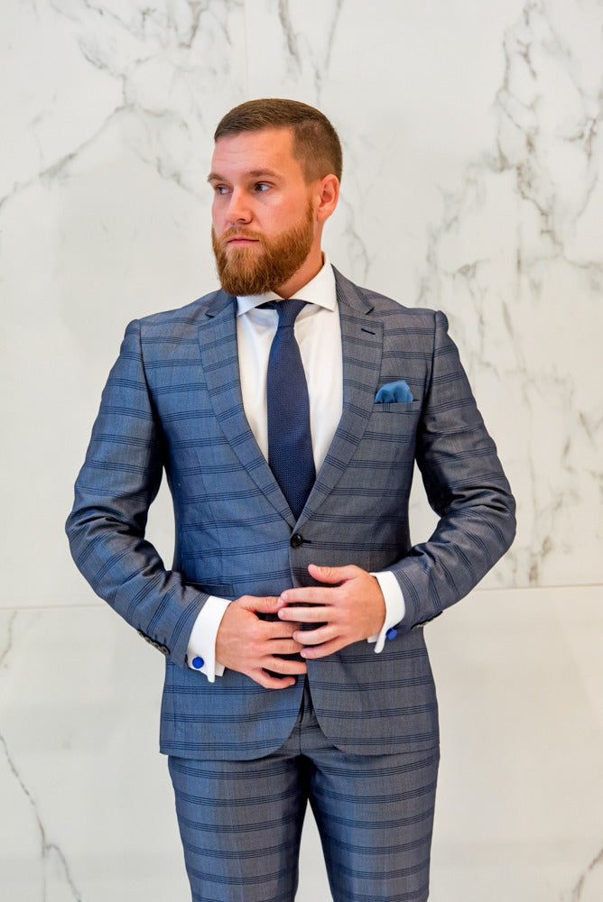 Steele Blue – Horizontal Stripe 2 Piece Suit - Eaden Myles