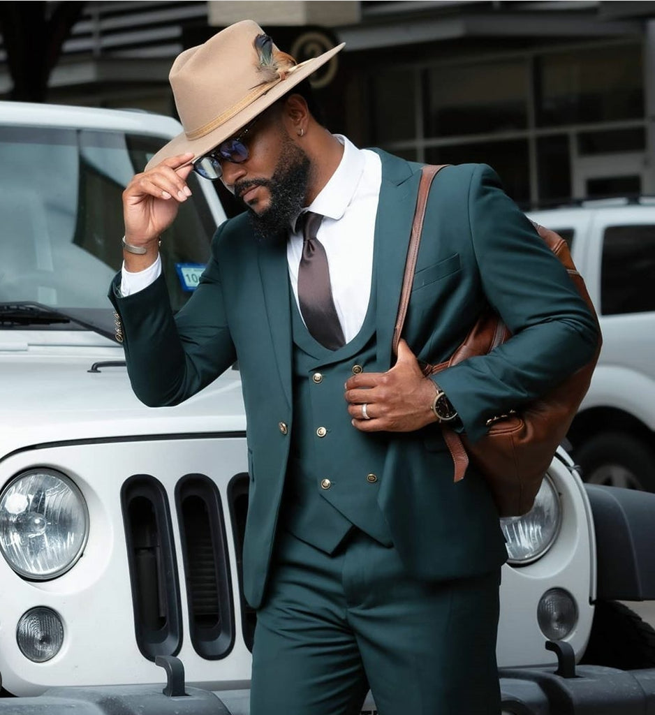 Green 3 Piece Suit - Eaden Myles