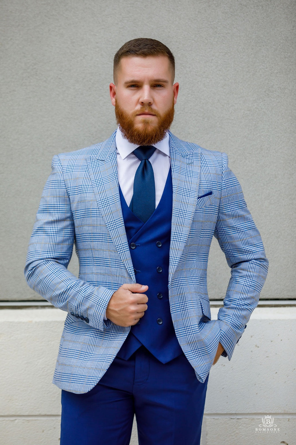 3 piece blue suit