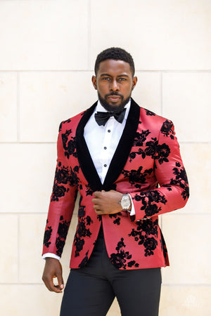 Crimson Red Velvet Embroidered Dinner Jacket