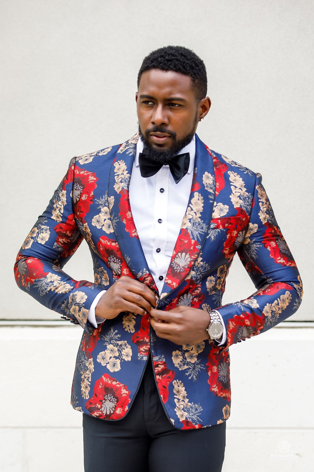 Red, Blue, Gold - Floral Brocade Dinner Jacket