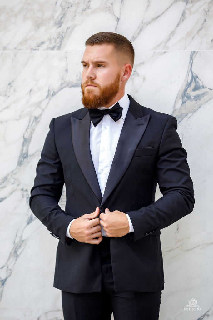 Black Peak lapel Tuxedo - Wedding Package - Eaden Myles