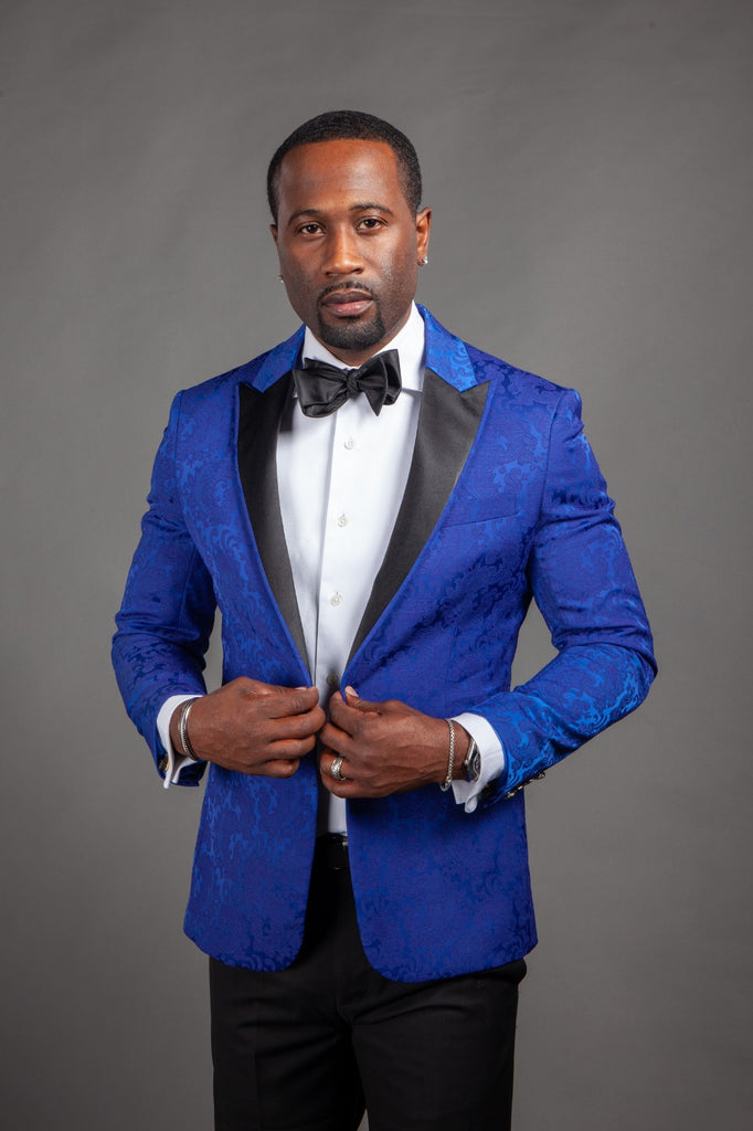 Royal Blue Jacquard Dinner Jacket - Eaden Myles