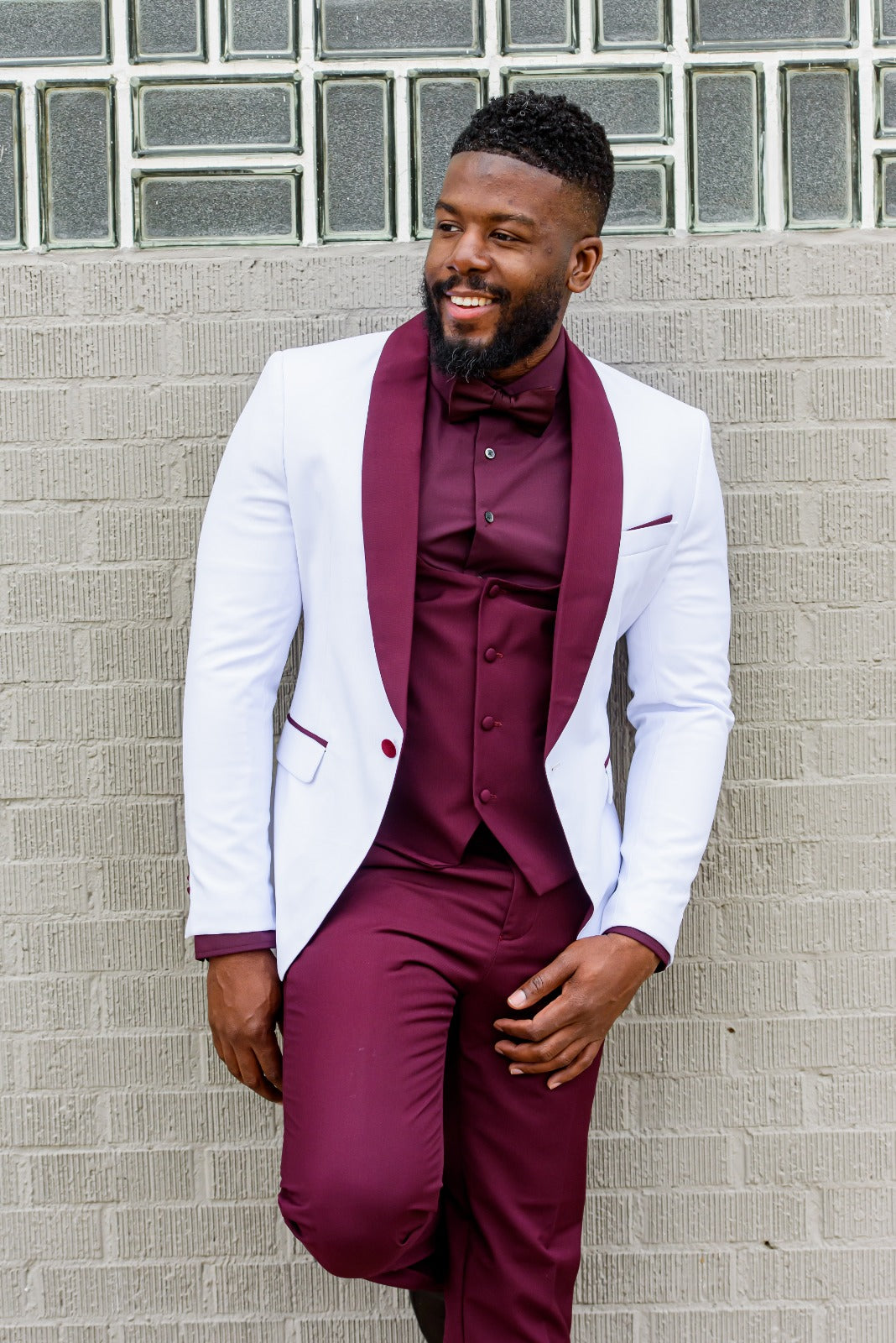 White Shawl with Burgundy Lapel & Burgundy Trouser - Eaden Myles