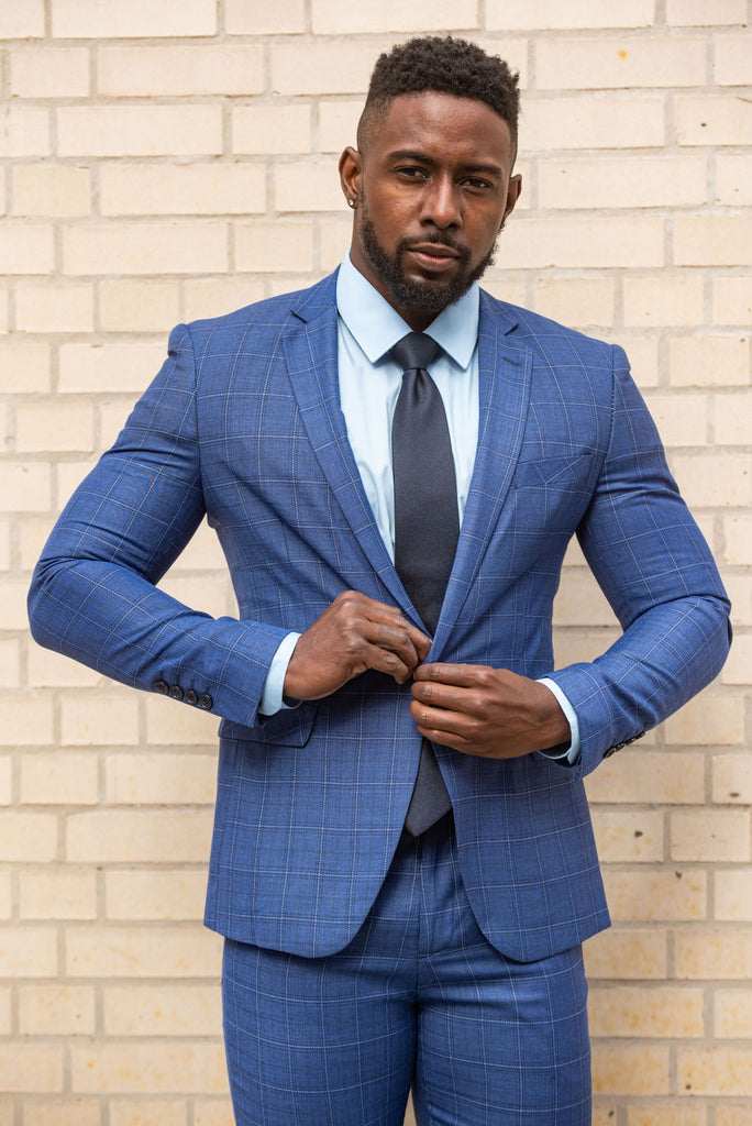 Blue 2 Piece Window Pane Suit - Eaden Myles