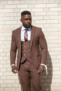 Brown slim fit suit with vest