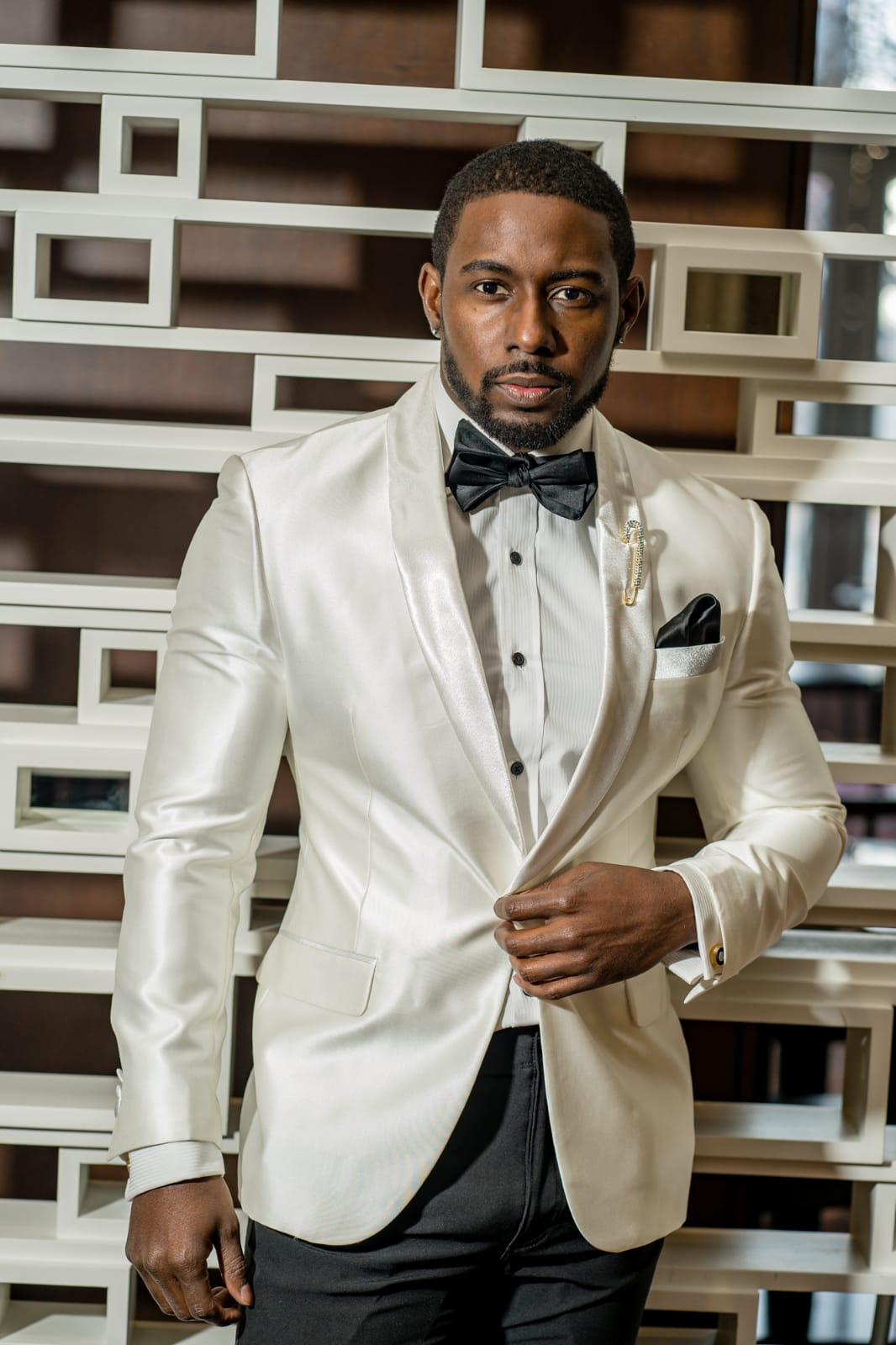 2 Piece Ivory on Ivory Shawl Lapel with Black Pant - Eaden Myles