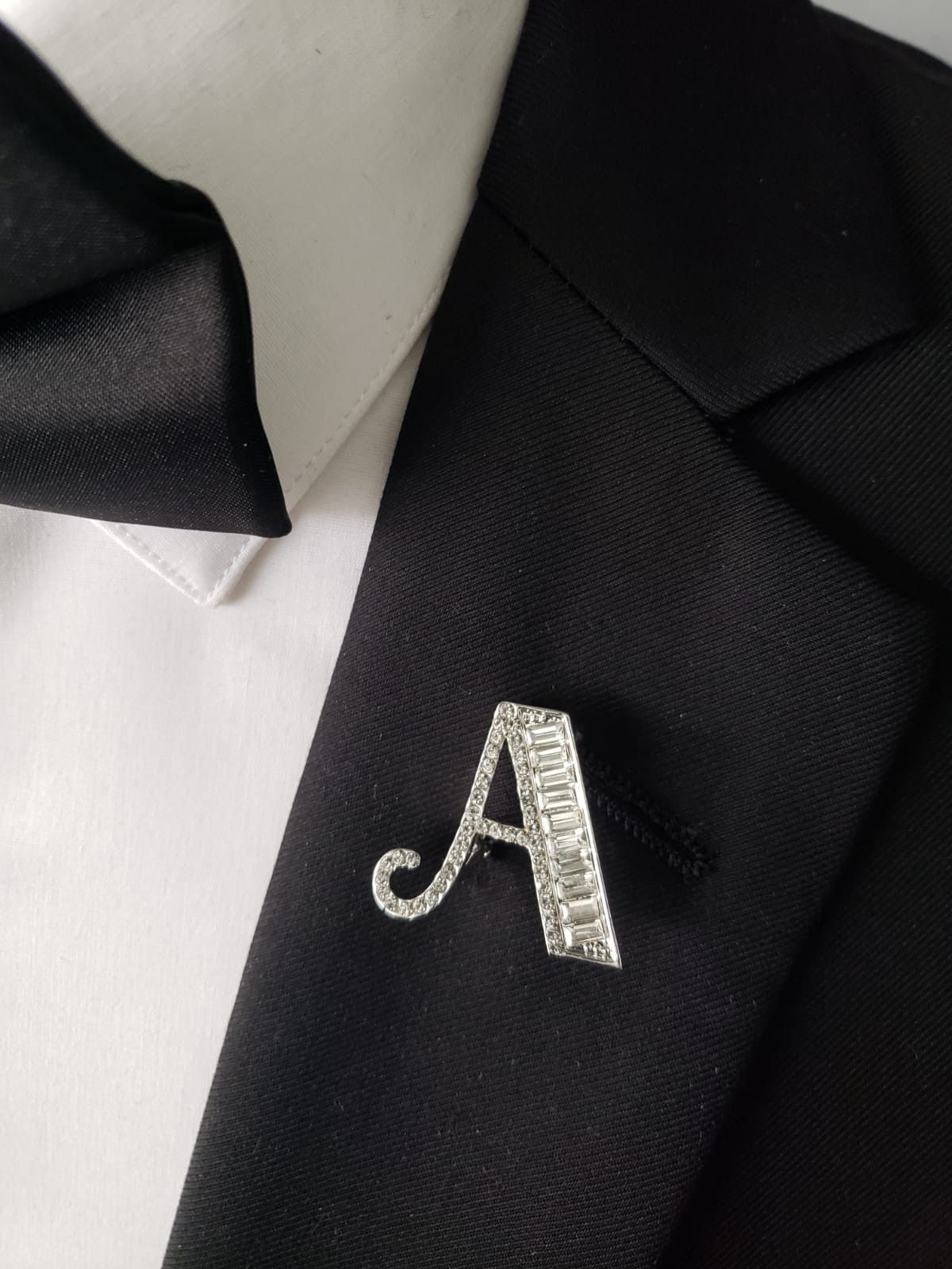 "Blinged out ""A"" lapel pin"