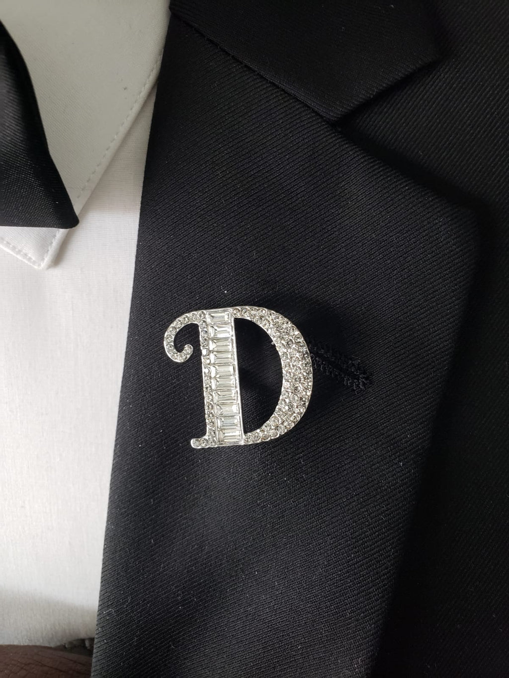 "Blinged out ""D"" lapel pin"