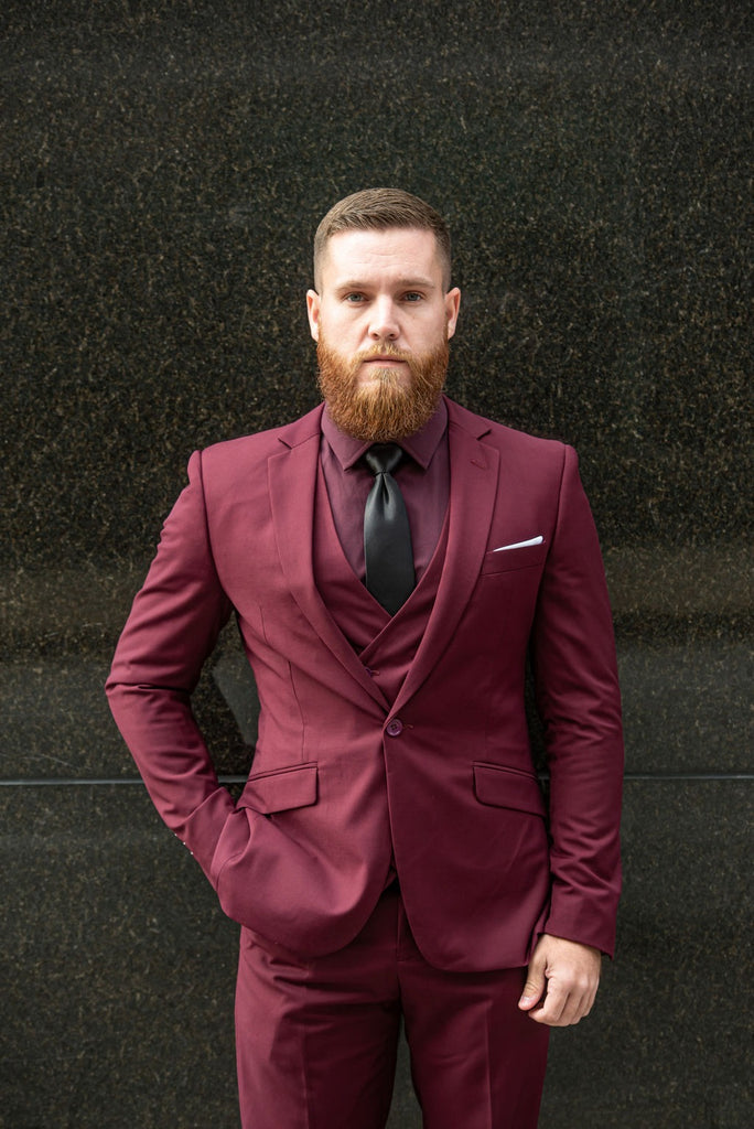 3 Piece Executive  - Burgundy Suit - Eaden Myles