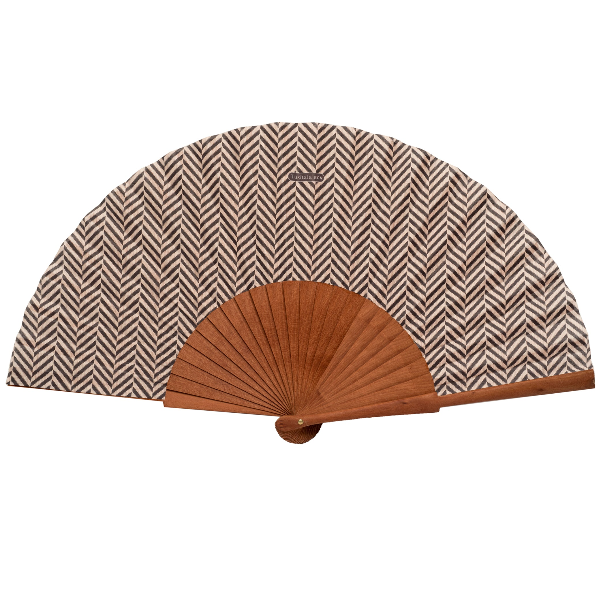 Brown herringbone hand fan