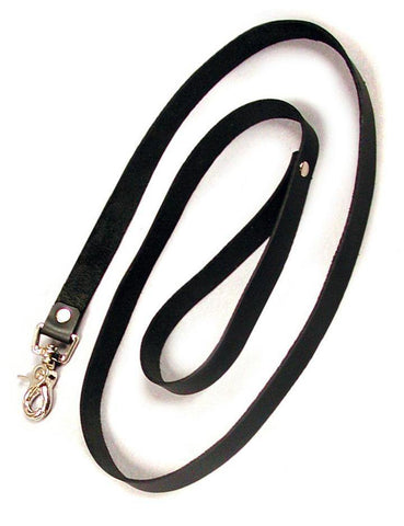 Black Leather Leash, 4'