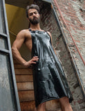 Rubber Apron with Cockhole and Pocket-BODY SUITS & APRONS, FETISH WEAR-Male Stockroom
