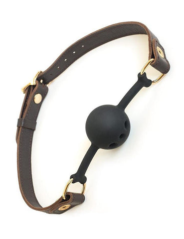 Breathable Silicone Ball Gag with Brown Leather Strap  BDSM GEAR GAGS & MUZZLES