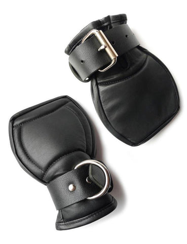 Deluxe Padded Fist Mitts Leather S/M  BDSM GEAR BONDAGE RESTRAINTS