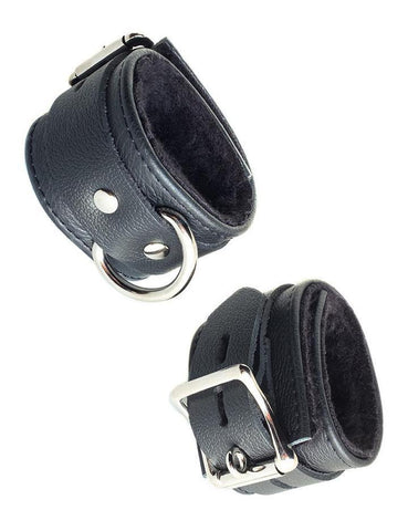 Fleece Lined Garment Leather Ankle Cuffs Black  BDSM GEAR BONDAGE RESTRAINTS