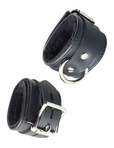 Fleece Lined Garment Leather Wrist Cuffs Black  BDSM GEAR BONDAGE RESTRAINTS