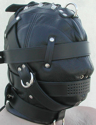 Heavy Duty Leather Hood-BDSM GEAR, HOODS & BLINDFOLDS-Male Stockroom