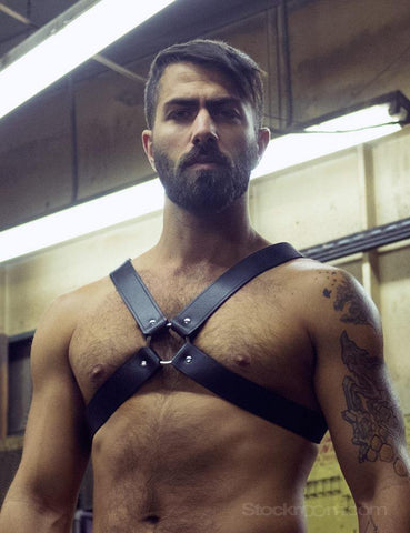 Leather Chest Harness-BODY HARNESSES, FETISH WEAR-Male Stockroom
