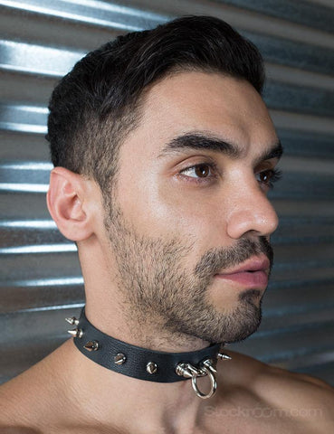 Leather Locking Collar with Spikes  BONDAGE RESTRAINTS COLLARS & LEASHES