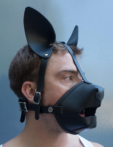 Black Leather Puppy Play K9 Muzzle with Removable Silicone Ball Gag-BDSM GEAR, GAGS & MUZZLES, HOODS & BLINDFOLDS-Male Stockroom