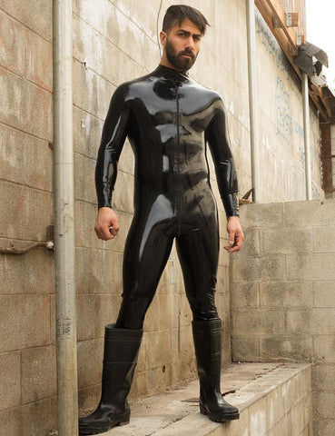 Latex Catsuit w/ Thru Zipper-BODY SUITS & APRONS, FETISH WEAR-Male Stockroom