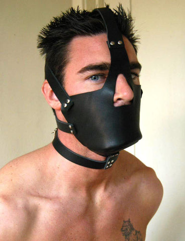 Leather Head Harness with Muzzle-BDSM GEAR, GAGS & MUZZLES-Male Stockroom