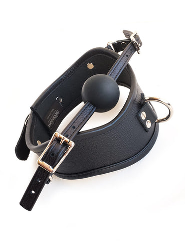 Posture Collar with Silicone Ball Gag-BDSM GEAR, BONDAGE RESTRAINTS, COLLARS & LEASHES, GAGS & MUZZLES-Male Stockroom