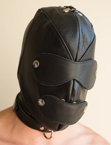 Premium Leather Hood with Gag & Blindfold-BDSM GEAR, HOODS & BLINDFOLDS-Male Stockroom