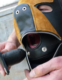 Two-Toned Dog Hood with Mouth Gag-BDSM GEAR, HOODS & BLINDFOLDS-Male Stockroom