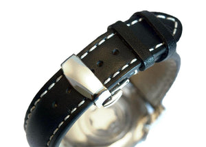 Black Push Button Clasp watch band - Strapped For Time - Fine Quality Watch Bands