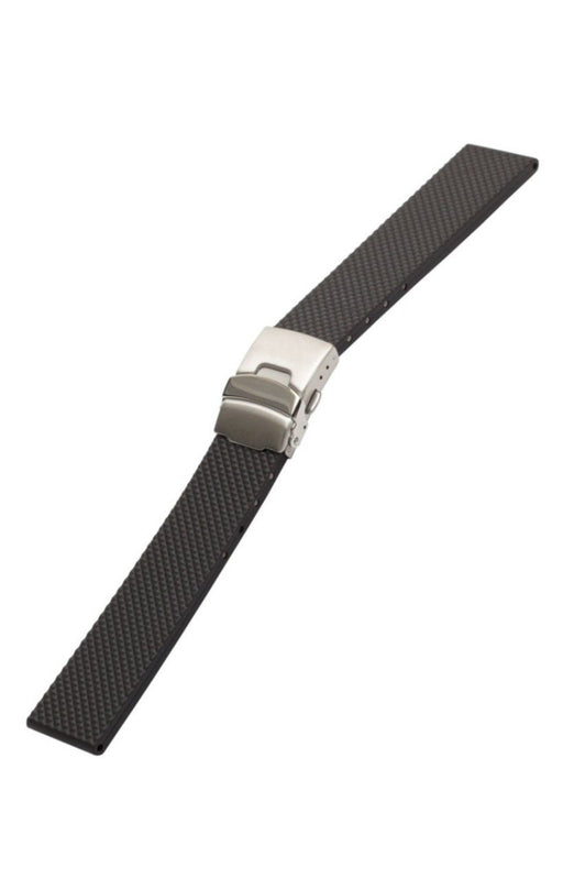 Bonetto Cinturini Italian Rubber Deployment Black watch band - Strapped For Time